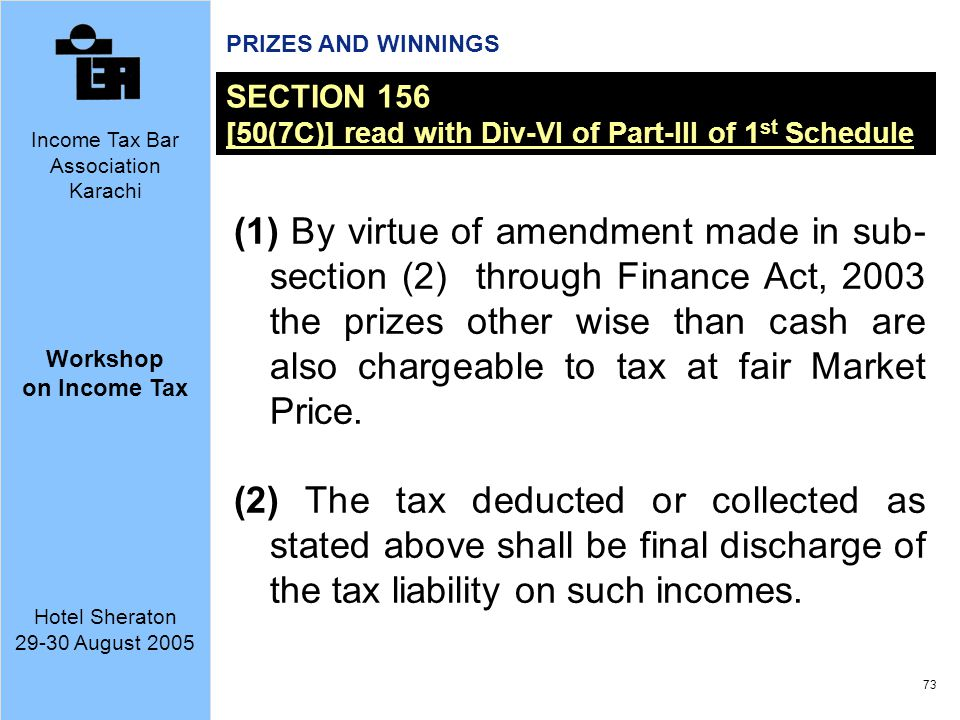 PRIZES AND WINNINGS SECTION 156. [50(7C)] read with Div-VI of Part-III of 1st Schedule.
